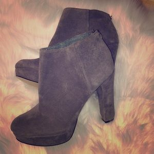 Michael Kors gray suede booties leather